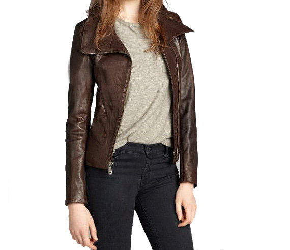 WOMEN BROWN WIDE COLLAR LEATHER JACKET, BROWN JACKET FOR WOMEN ...