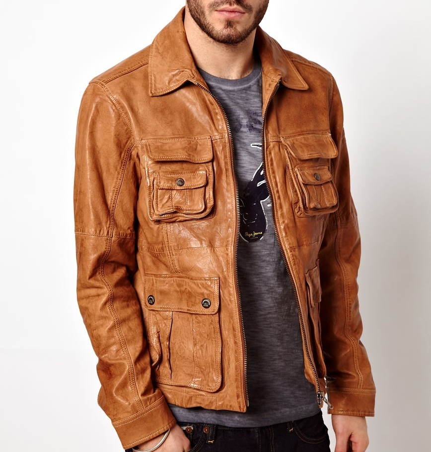 MEN TAN BROWN FASHION LEATHER JACKET BROWN LEATHER JACKET LEATHER JACKET MEN On Luulla